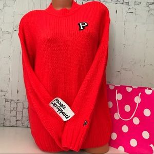 VS PINK XS BOYFRIEND SWEATER LOGO OVERSIZED NEON